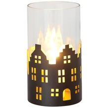 Holländer Windlicht 1-flg. SKYLINE KLEIN Metall außen kupfer-braun innen gold - Glas klar