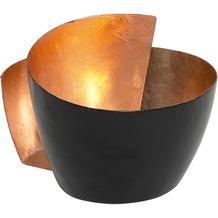 Holländer Windlicht 1-flg. ZUCCHERO Metall schwarz - innen blattverkupfert