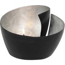 Holländer Windlicht 1-flg. ZUCCHERO Metall schwarz - innen blattversilbertt