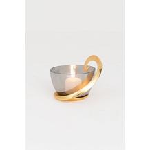 Holländer Windlicht CEMBALO Aluminium gold Glas schwarz