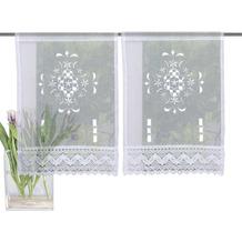 Home Wohnideen Fensterbilder Leinenstruktur Lochstickerei Weiss 45 x 30 cm