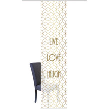 "Home Wohnideen Schiebevorhang Digitaldruck Bambus-optik ""live Love Laugh"" Gold 260 x 60 cm"
