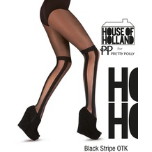 House of Holland Pretty Polly House of Holland Blck Stripe OTK Tights Black One Size