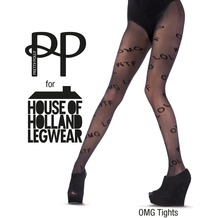 House of Holland Pretty Polly House of Holland Text Tights Black One Size One Size