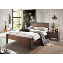 IMV Bett Brooklyn 140 cm mit Holzkopfteil und Nachtkonsole schwarz/braun