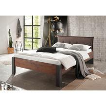 IMV Bett Brooklyn 140x200 cm Polsterkopfteil schwarz/braun