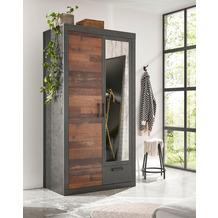 IMV Kleiderschrank Brooklyn mit einer Spiegeltür schwarz/braun 105x201 cm