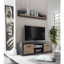 IMV Lowboard Brügge 153 cm, Korpus schwarz, Front Holz-Dekor TV-Board