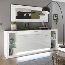 IMV Sideboard Meran weiß / weiß hochglanz 198 x 83 x 43
