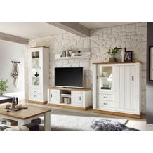 IMV Wohnkombination Orlando weiß / Eiche Dekor mit Vitrine und Highboard