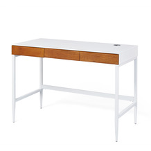 Inter Link Schreibtisch 'Scandici D' weiß matt/Eiche massiv