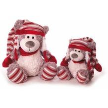 inware Plüschtier Bär mit roter Mütze 32 cm beige, grau, rot