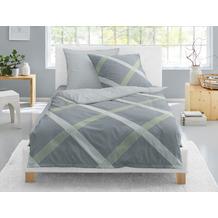 irisette Mako-Satin Bettwäsche Set Elba-K 8276 grün 135x200 cm, 1 x Kissenbezug 80x80 cm