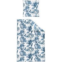 irisette Mako-Satin palma 8181 blau Bettwäsche 135x200 cm, 1 x Kissenbezug 80x80 cm