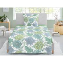 irisette Soft-Seersucker Bettwäsche Set Calypso 8219 grün 135x200 cm, 1 x Kissenbezug 80x80 cm