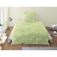irisette Soft-Seersucker Bettwäsche Set Calypso 8259 grün 135x200 cm, 1 x Kissenbezug 80x80 cm