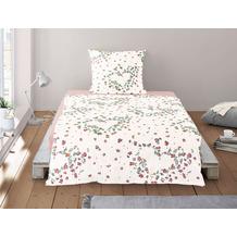 irisette Soft-Seersucker Bettwäsche Set Calypso 8259 rot 135x200 cm, 1 x Kissenbezug 80x80 cm