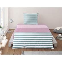 irisette Soft-Seersucker Bettwäsche Set Calypso 8263 blau 135x200 cm, 1 x Kissenbezug 80x80 cm