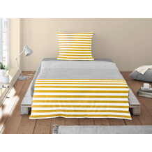 irisette Soft-Seersucker Bettwäsche Set Calypso 8263 gelb 135x200 cm, 1 x Kissenbezug 80x80 cm