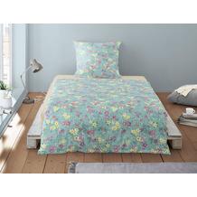 irisette Soft-Seersucker Bettwäsche Set Calypso 8264 blau 135x200 cm, 1 x Kissenbezug 80x80 cm