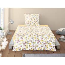 irisette Soft-Seersucker Bettwäsche Set Calypso 8264 gelb 135x200 cm, 1 x Kissenbezug 80x80 cm