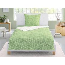 irisette Soft-Seersucker Bettwäsche Set Calypso 8269 grün 135x200 cm, 1 x Kissenbezug 80x80 cm