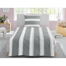 irisette Soft-Seersucker Bettwäsche Set Calypso 8271 grau 135x200 cm, 1 x Kissenbezug 80x80 cm