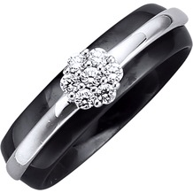 Jacques Lemans Ring 925/- Sterling Silber rhodiniert schwarz 10493 54 (17,2)