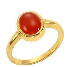 Jamelli Ring 925/- Sterling Silber vergoldet mit Carneol gelb 14647 52 (16,6)