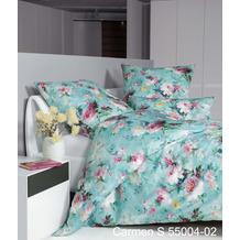 Janine Bettwäsche-Garnitur Carmen S Interlock-Jersey pastelltürkis wildrose 135x200, 80x80