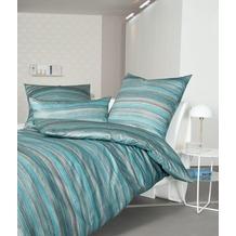 Janine Bettwäsche-Garnitur Interlock-Jersey kristallblau gestreift Bettbezug 135x200, Kissenbezug 80x80cm