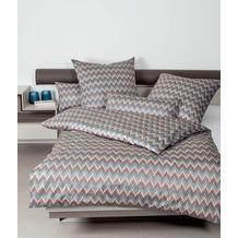 Janine Bettwäsche-Garnitur Interlock-Jersey mineralblau Zackenmuster Bettbezug 135x200, Kissenbezug 80x80cm