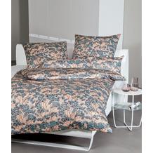 Janine Bettwäsche-Garnitur Interlock-Jersey mineralblau Blumenmuster Bettbezug 135x200, Kissenbezug 80x80cm