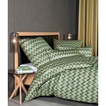 Janine Bettwäsche-Garnitur Interlock-Jersey silbergrün Zackenmuster Bettbezug 135x200, Kissenbezug 80x80cm