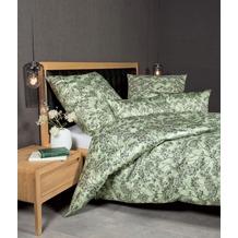Janine Bettwäsche-Garnitur Interlock-Jersey silbergrün Blumenoptik Bettbezug 135x200, Kissenbezug 80x80cm