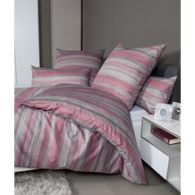 Janine Bettwäsche-Garnitur Interlock-Jersey schieferrosa gestreift Bettbezug 135x200, Kissenbezug 80x80cm