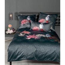 Janine Bettwäsche-Garnitur Mako-Satin grau rosé living coral Papagei Bettbezug 135x200, Kissenbezug 80x80cm
