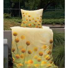 Janine Bettwäsche-Garnitur modern art Mako-Satin gelbgold 135x200, 80x80