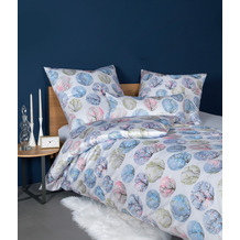 Janine Bettwäsche CARMEN S Interlock-Jersey azurblau rosa 55025-02 135x200, 80x80