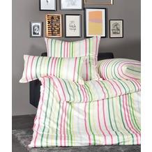 Janine Bettwäsche Interlock-Jersey Carmen magenta grün gestreift Bettbezug 135x200, Kissenbezug 80x80cm