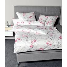Janine Bettwäsche Interlock-Jersey Carmen rosa grau Bettwäsche 135X200, Kissenbezug 80x80