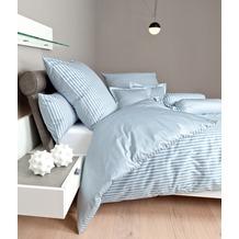 Janine Bettwäsche Mako-Satin modernclassic perlblau gestreift Bettbezug 135x200, Kissenbezug 80x80cm