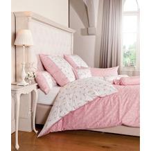 Janine Bettwäsche Mako-Satin rosa silber Kissenbezug 40x40
