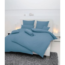 Janine Bettwäsche Mako-Soft-Seersucker, uni denimblau Bettwäsche 135X200,Kissenbezug 80x80
