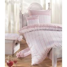Janine Edelflanell Chinchilla S rosé rotes Muster Bettbezug 135x200, Kissenbezug 80x80cm