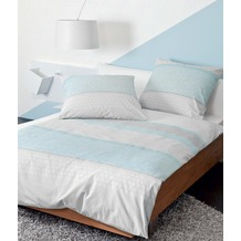 Janine Feinbiber Davos blau Bettbezug 200x200+2x80x80