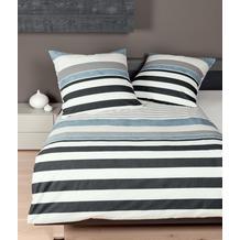 Janine Feinbieber Davos blau gestreift Bettbezug 135x200, Kissenbezug 80x80cm