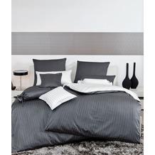 Janine Mako-Satin modernclassic schwarz Nadelstreifen Bettbezug 135x200, Kissenbezug 80x80cm