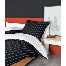Janine Mako-Soft-Seersucker Tango schwarz Bettbezug 135x200, 80x80