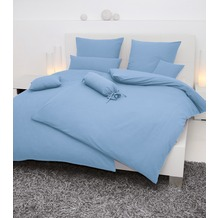 Janine Mako-Soft-Seersucker, uni Piano bleu Bettbezug 135x200, 80x80